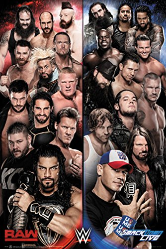 """WWE - Wrestling Poster / Print (WWE Raw Vs. Smackdown) (Size: 24"""" x 36"""") (Black Poster Hanger) (By POSTER STOP ONLINE)"""