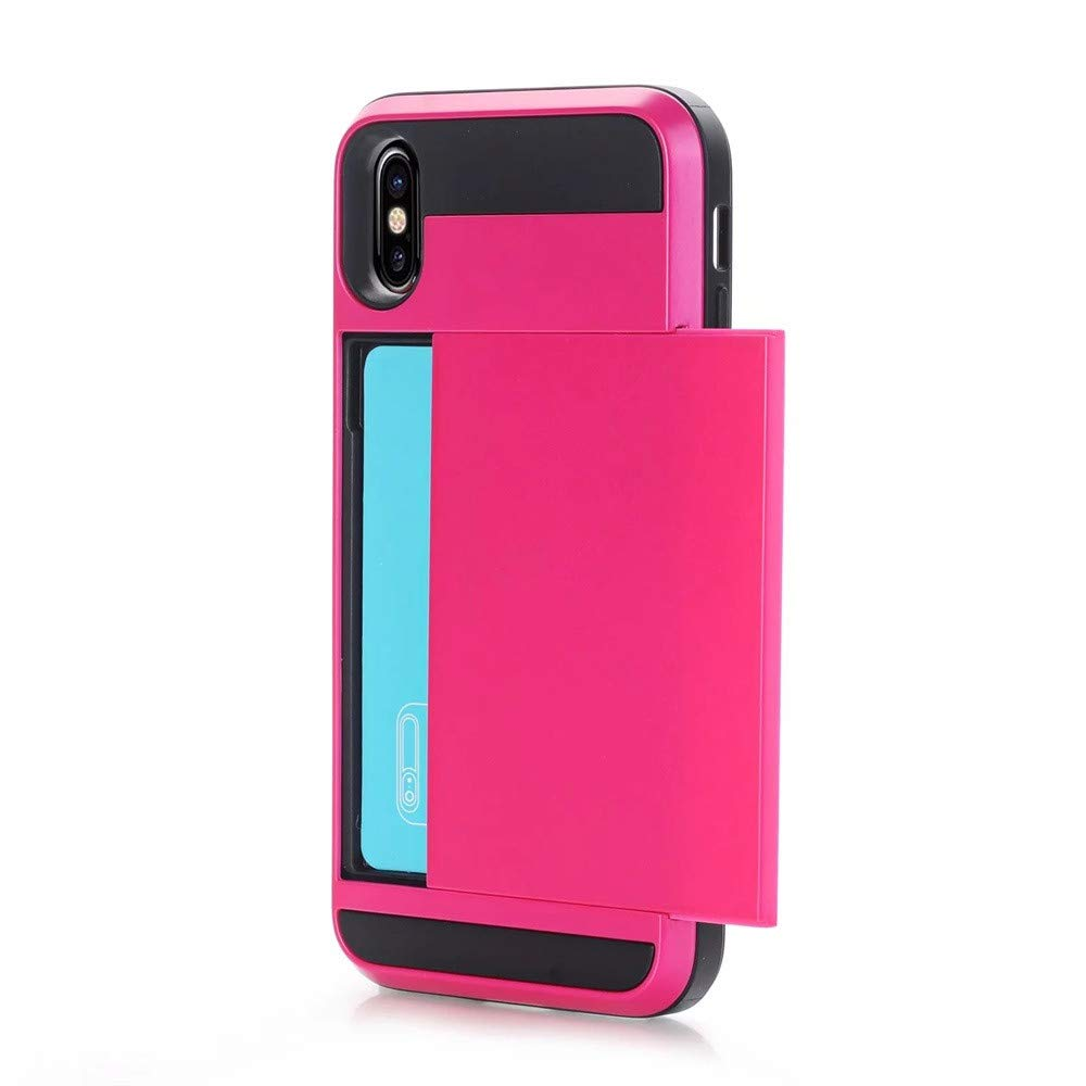 F/ür iPhone XS Max 6,5-Zoll-R/üstung mit Karte Pocket Wallet Halter Slot Phone Case Cover M/änner Frauen M/ädchen Slim Fit Matte TPU Beste Schutzh/ülle Thin Cover Fashion Phone Case