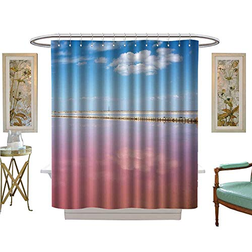 luvoluxhome Shower Curtain Collection by Pink Salt Lake sasyk sivash with Reflection of Clouds and Salt Production Crimea Bathroom Accessories W48 x - Tennessee Salt Titans