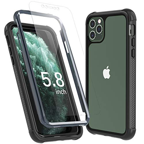 Temdan iPhone 11 Pro Case, Full Body Built in Screen Protector Protect Bumper Case Support Wireless Charging, Heavy Duty Rugged Dropproof Cases for iPhone 11 Pro 5.8 inch 2020-(Black/Clear)
