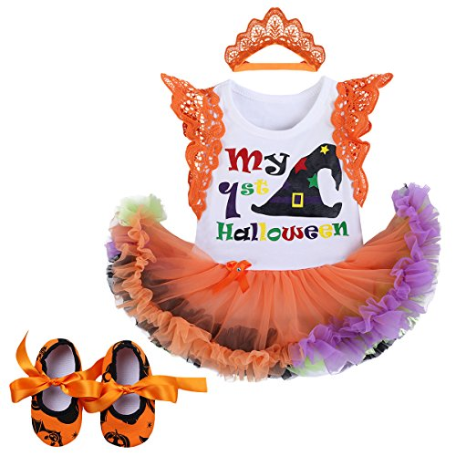 (Baby Girls 1st Halloween Outfit My First Christmas Birthday Fancy Party Romper Dress Lace Flutter Sleeve Bodysuit Headband Leg Warmers Shoes Pumpkin Witch Hat Photo Prop Costume 3Pcs Set Orange 3-6M)
