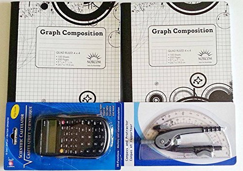 Quad Ruled Graph Composition Notebook, Scientific Calculator, Compass and Protractor Bundle: Five Items