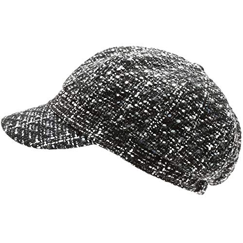 MIRMARU Women's Classic Visor Baker boy Cap Newsboy Cabbie Winter Cozy Hat with Comfort Elastic Back (Tweed Plaid Black)