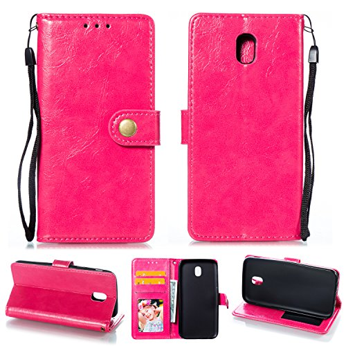 Ostop Samsung Galaxy J7 2018 Leather Wallet Case,Magenta Classic Oil Wax PU Stand Purse Credit Card Slots Holder Flip Stylish Simple Cover with Retro Metal Clasp for Samsung Galaxy J7 2018