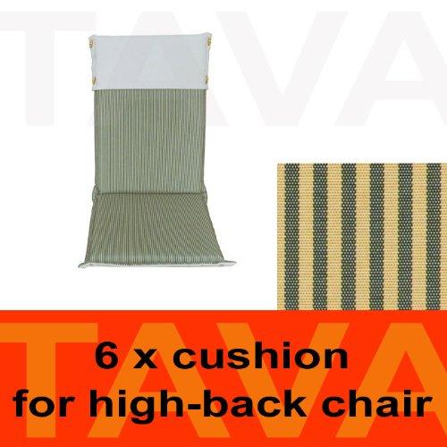 MEBELINO AHCG6 - Set von 6 Sitzauflagen MEBELINO AHCG für Hochlehner Gartenstühle, wasserabweisend, mit Zipper, 115 (70 + 45)x50 cm, 5 cm dick, creme grün