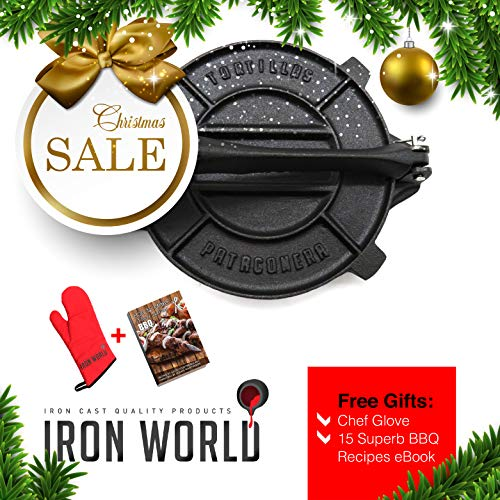 easoned by Iron World - Cast Iron Pataconera Press Seasoned 8 inch Heavy Gauge. Great for Flour Corn Tortilla ()