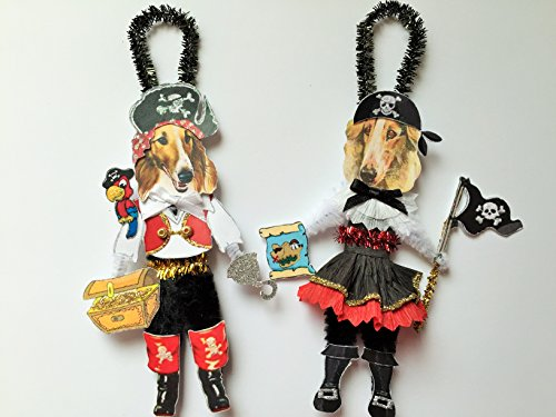 Borzoi PIRATE & Wench HALLOWEEN ORNAMENTS Vintage Style Dog Chenille Ornaments Set of 2