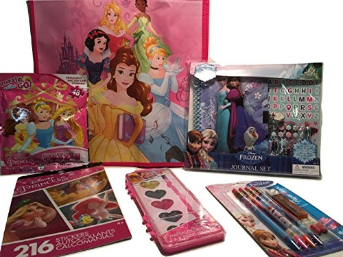 Birthday Gift For Girls; Disney Princess Arts and Crafts in Reusable Storage Bag, Stickers, Jigsaw Puzzle, Watercolor Paints, Mechanical Pencils, Journal; (Parents Halloween Coloring Pages)