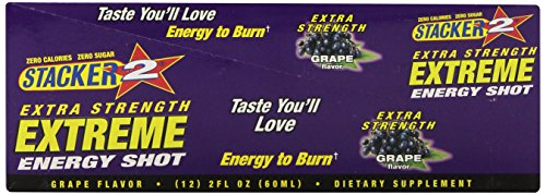 Stacker 2 Extreme Energy Shot Extra Strength, Grape, 2 Fluid Ounce (Pack of 12)