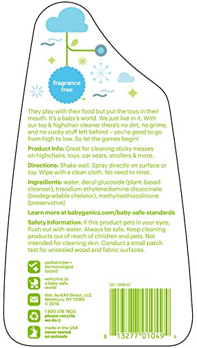 Babyganics Toy & Highchair Cleaner, 17-Fluid Ounce Bottles (Pack of 2), Packaging May Vary - incensecentral.us