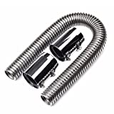 """BLACKHORSE-RACING 24"""" Stainless Steel Radiator Flexible Coolant Water Hose Kit with Caps Universal"""