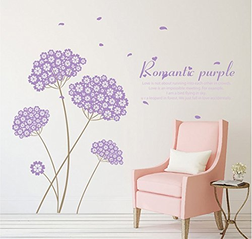 TOTOMO Purple Flower Bouquet Wall Decals Stickers for Bedroom Sofa Backdrop Wall Décor Art