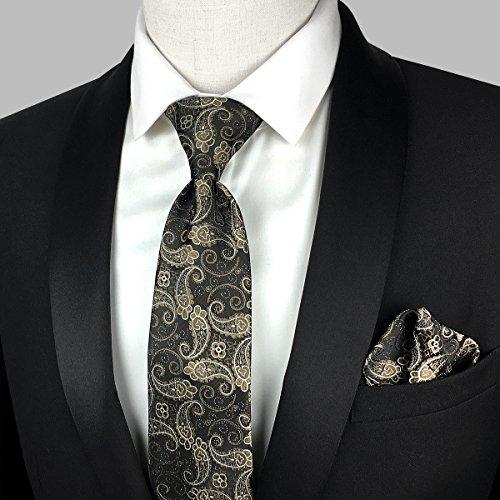 Set Necktie Self Square Brown Tie Mens Paisley KOOELLE Small Pattern Pocket zgaqaw
