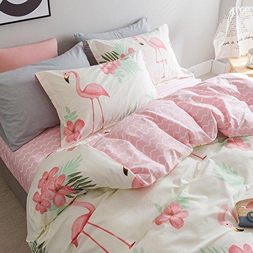 Bettwäsche 4 Teilig Flamingo Muster Pure Color Einfach Verdickt