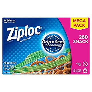 Ziploc Snack Bags with New Grip 'n Seal Technology, Ideal for Packing Cookies, Fruits, Vegetables, Chips and More, 280 Count, Transparent