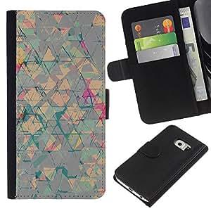 iBinBang / Flip Funda de Cuero Case Cover - Abstract Art Triangle Shapes - Samsung Galaxy S6 EDGE SM-G925