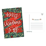 50 Holiday Greeting Cards, Cute Fancy Blank Winter Christmas Postcard Set, Bulk Pack of Premium Seasons Greetings Note, Mistletoe Happy New Years for Kids, Business Office or Church Thank You Notes