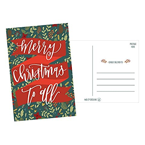 50 Holiday Greeting Cards, Cute Fancy Blank Winter Christmas Postcard Set, Bulk Pack of Premium Seasons Greetings Note, Mistletoe Happy New Years for Kids, Business Office or Church Thank You - Christmas Design Pack