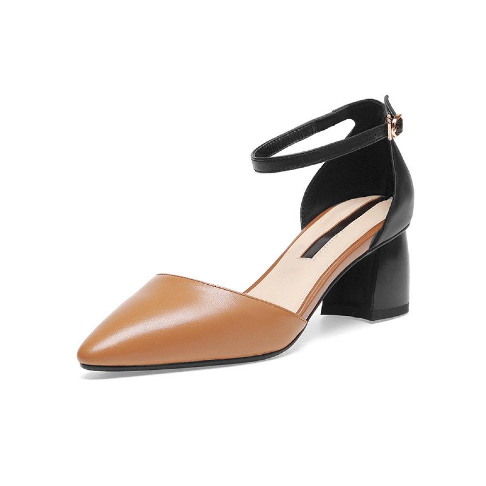 DKFJKI Damen Sandalen Starke Ferse Spike Schnalle Mittlere Ferse Leder Hollow Seasons Schuhe  35 EU|Brown