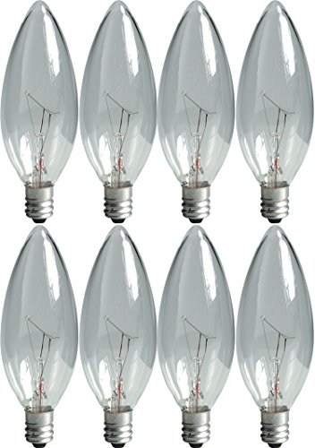 GE Lighting Crystal Clear 76229 60-Watt, 540-Lumen Blunt Tip Light Bulb with Candelabra Base, 8-Pack