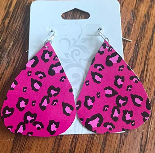 Pink Leopard Earrings/Paper Earrings/Lightweight Earrings/Paper Earrings/Summer Earrings