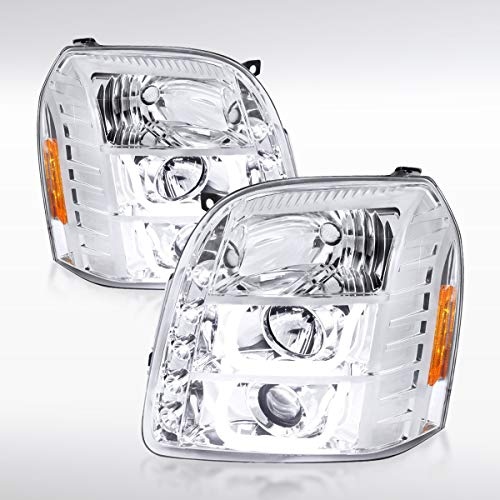 - GMC Yukon XL Denali 1500/2500 SLT SLE Chrome U-Halo LED Projector Headlights Pair