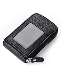 imeetu Credit Card Holders, Genuine Leather Case Organizer with Zip-Around Security Wallet (Black)