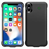 iPhone X / Xs Funda Batería, 4000mAh Battery Case Batería Portátil Carcasa Protección para Apple iPhone X y Xs, Ultra Delgada y Apoyo Lightning Auriculares, Color Negro