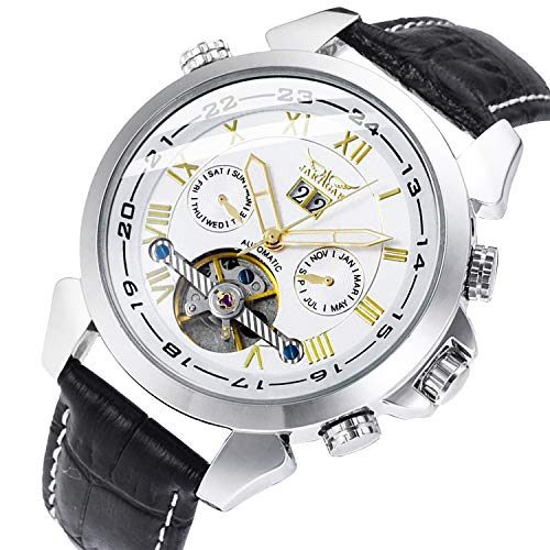 Gute Luxury 5 Hands Date Tourbillon Wrist Watch Auto Mechanical Watch Silver Case Gold Roman Numbers