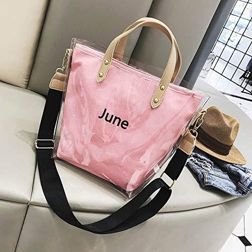 e Sacchetto studente rosa versione ragazza della Messenger WSLMHH coreana borsa primavera trasparente femminile studente l'estate rosa spalle tracolla fx7CdnwBq