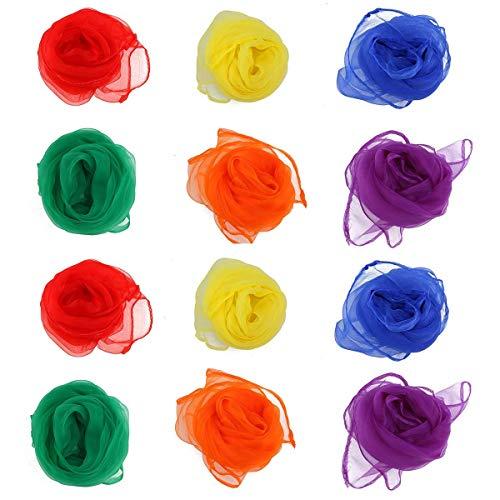 Party Diy Decorations - 12pcs 60X60cm Hemmed Square Juggling Dance Scarves 6 Colors Desigual Scarf Polyester Assorted Color - Decorations Party Party Decorations Dress Black Celebrity Wome]()
