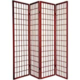 Legacy Decor 4-Panel Folding Shoji Screen Room Divider, Cherry Finish