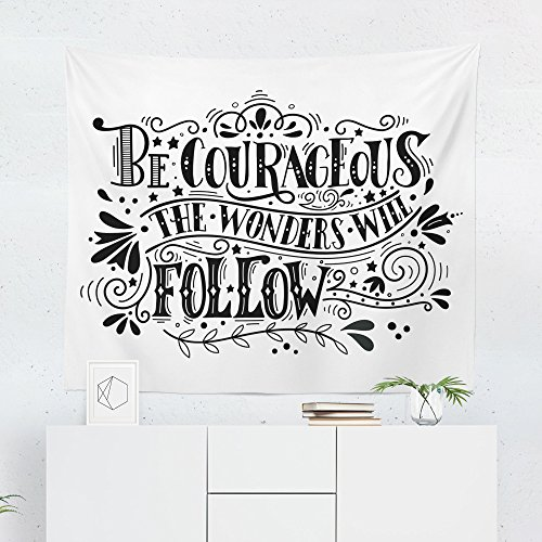 Inspirational Quote Tapestry - Motivation Courage Wall Tapestries Hanging Décor Bedroom Dorm College Living Room Home Art Print Decoration Decorative - Printed in the USA - Small Medium Large Sizes (Courage Twin)