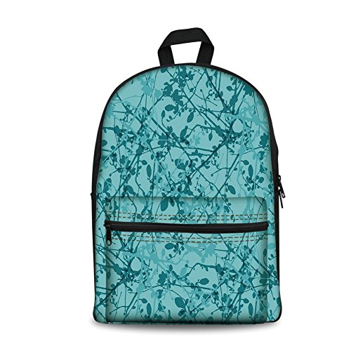 Design the fashion fo Kids Back to School Backpack, Canvas Book Bag,Teal,Ink Drawing Inspired Intertwined Tree Branches Buds and Leaves in Abstract Design Decorative,Teal Turquoise. -  HongKong Fudan Investment Co., Limited, FBBB_XS_18452_39x29x17.5