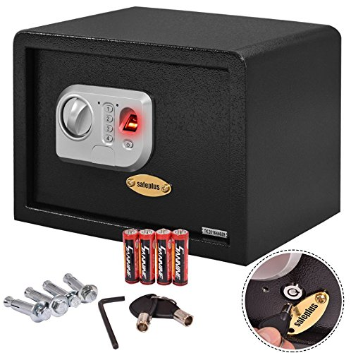 Quality SafeBox - Safe Home Lock Box - Biometric Fingerprint Digital Security - Electronic Password Keypad Wall - Office Hotel Home Bedroom - Gun Cash Jewelry Money Safe - Strong Fireproof Steel