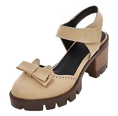 Albaricoque Velcro Puntera Sandalias Mujeres Agoolar Sólido De Pu Redonda Vestir aqCwAS