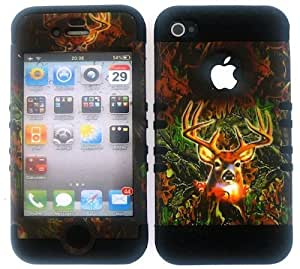 good case Apple iPhone 5c Camo Deer Heavy Duty q9ygrg3tYFg case cover + Black Gel Skin Snap-On Protector Accessory