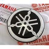Yamaha 2CM-F313B-00 - Genuine 50MM Diameter Yamaha Tuning Fork Decal Sticker Emblem Logo Black/Silver Raised Domed Gel Resin Self Adhesive Motorcycle/Jet Ski/ATV/Snowmobile