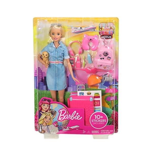 Barbie in Viaggio, Bambola Bionda con Cucciolo, Valigia che si Apre, Adesivi e Accessori, Giocattolo per Bambini 3… 6 spesavip