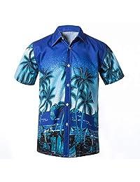 MISYAA Summer Beach Shirts for Men Hawaiian Floral Short Sleeve Button Casual Tops Mens Fashion Holiday Plus Size Tees L-4XL