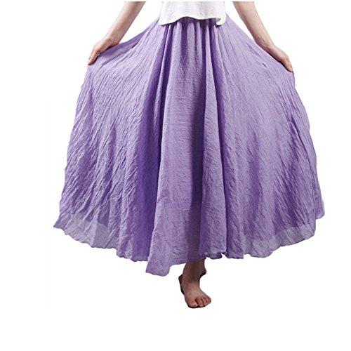 Asher Women's Bohemian Style Elastic Waist Band Cotton Linen Long Maxi Skirt Dress (95CM, Violet) - Linen Lace Skirt