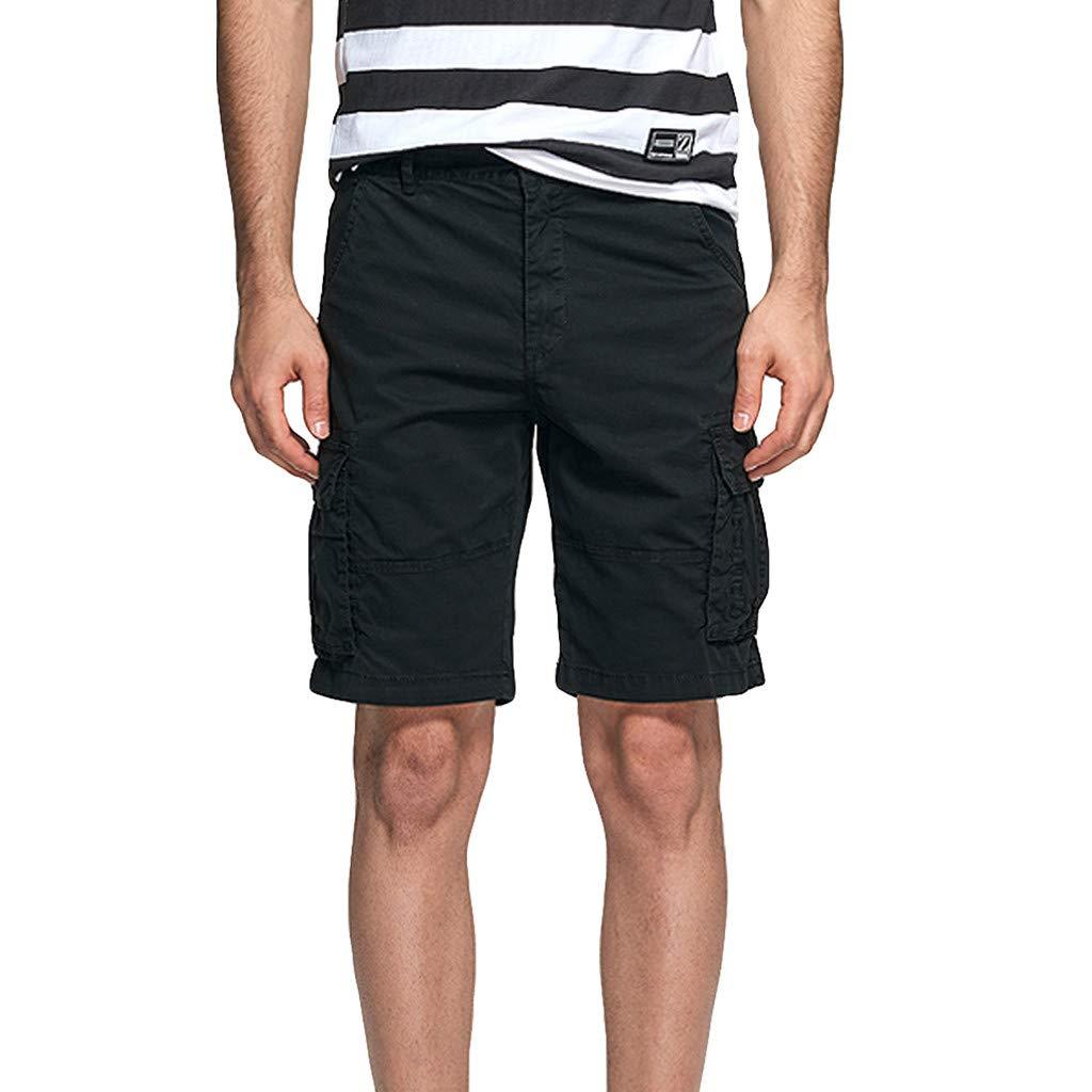 EINCcm Mens Cargo Shorts, Summer Casual Multi Pocket Lightweight Short Pants Walk Hiking Shorts(Black, 29)
