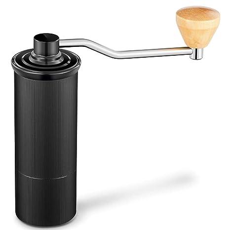 Xeoleo Manual Coffee Grinder Conical Burr Mill Hand Coffee Miller Coffee Milling Machine Aluminum Black 50mm