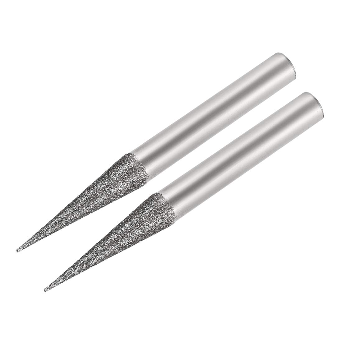 uxcell Silver Tone 6 x 10mm Diamond Head Polishing Grinding Bit Point Burr