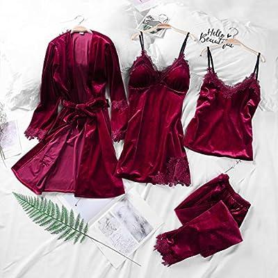 Women Camisole Lace Patchwork Night Skirt Four Sets of Velvet Pajamas Black
