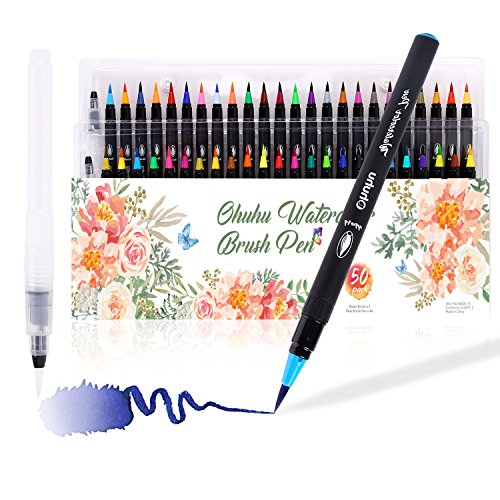 Watercolor Brush Markers Pen, Ohuhu 48 Colors Water Based Drawing Marker Brushes W/A Water Coloring Brush, Water Soluble for Adult Coloring Books Manga Comic Calligraphy, Back to School Art Supplies by Ohuhu