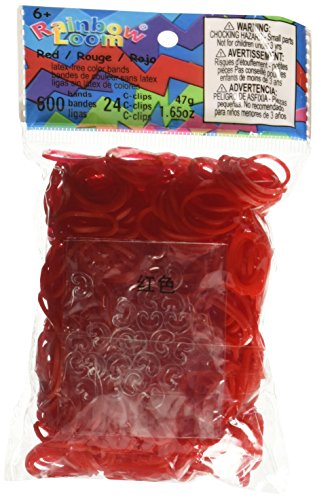Rainbow Loom Red Jelly Rubber Bands with 24 C-Clips (600 -
