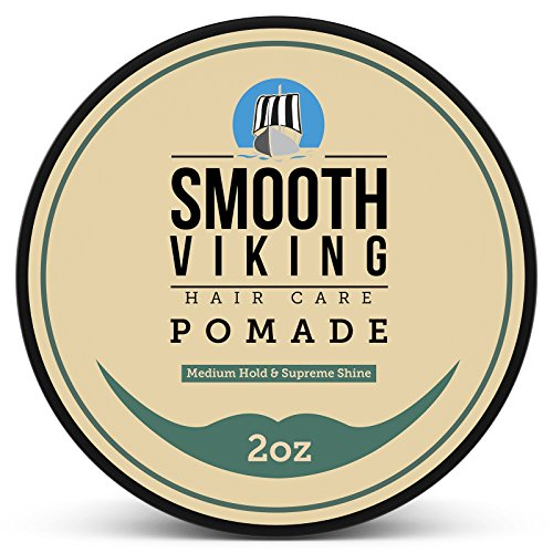 Pomade for Men - Medium Hold & High Shine - Hair Styling Formula for Straight, Thick and Curly Hair - 2 OZ - Smooth Viking