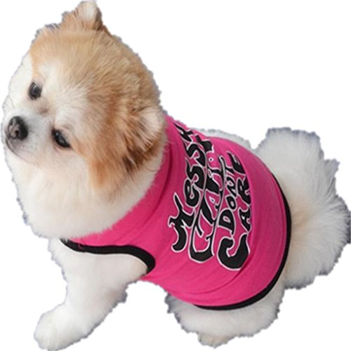 Puppy Clothes,Haoricu Summer Cute Small Dog Cat Pet Clothing Dog Hoodie Vest Puppy T Shirt Apparel (XS, Hot pink)