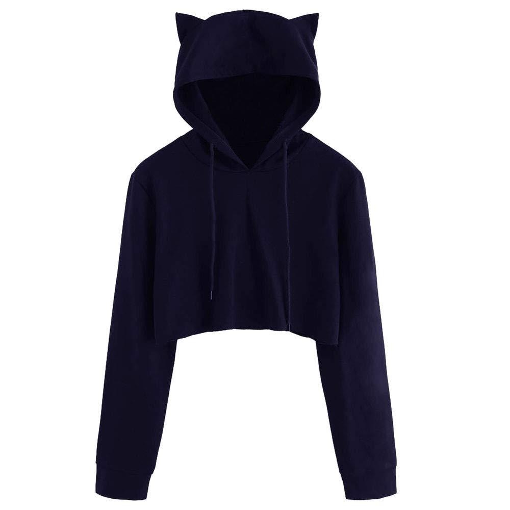 iHENGH Top Damen, Women Herbstliche Fashion Katzenohr Lange Ärmel Hoodie Sweatshirt Kapuzen Pullover Tops Bluse Crop Tops Damen Mode iHENGH Hemd Nr.1